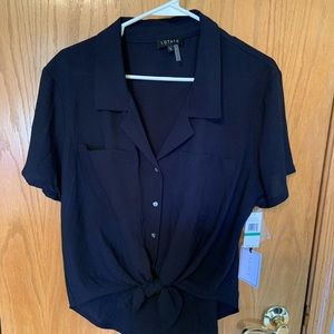 Navy Blue tie front blouse. Large